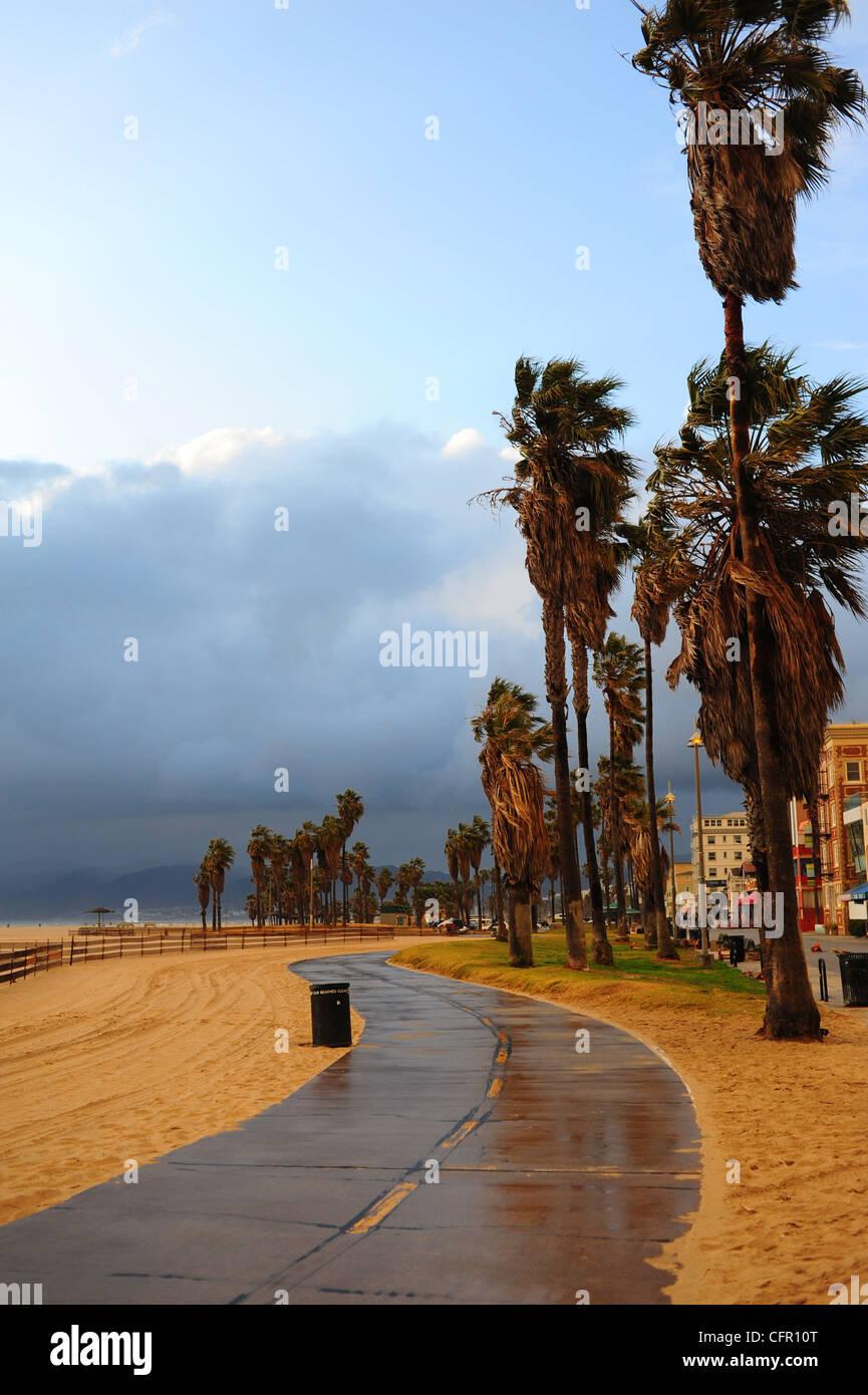 USA Southern California Los Angeles Venice Beach storm clouds rain wind Stock Photo