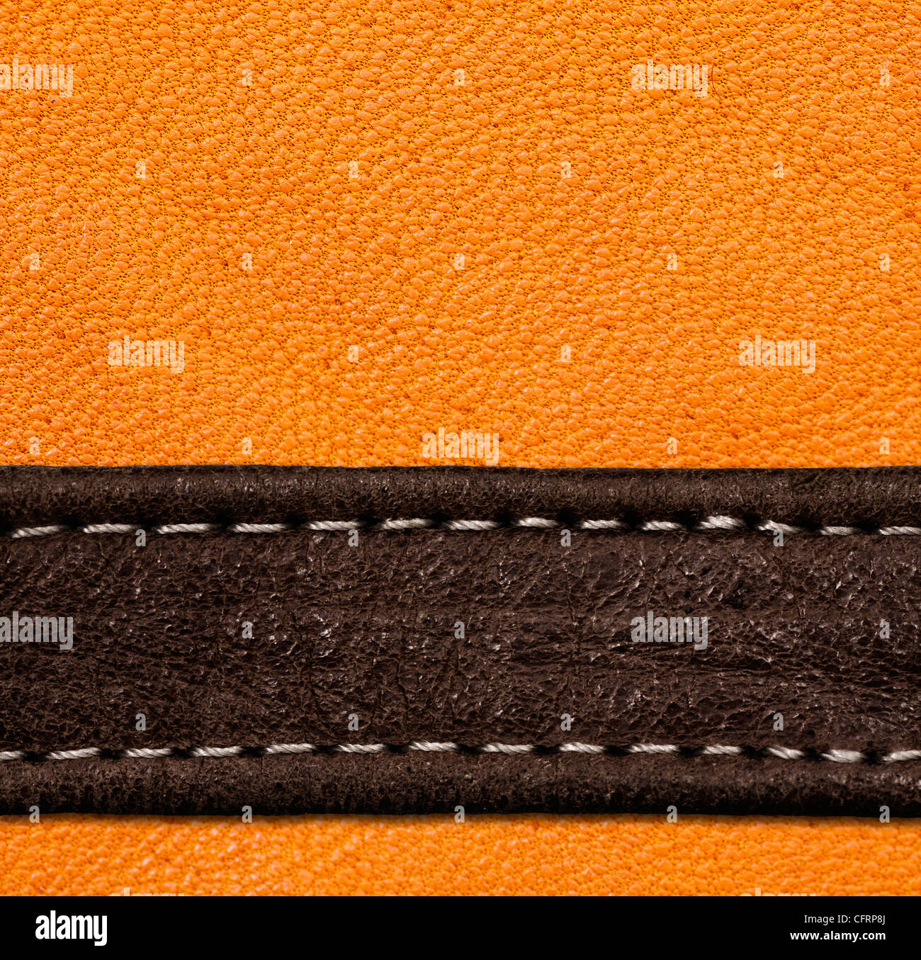 A brown and black leather texture. high resolution. - Stock Image