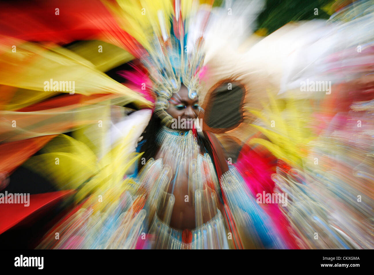 London, UK - August 27, 2012: Performers take part in the second day of Notting Hill Carnival, largest in Europe. Stock Photo