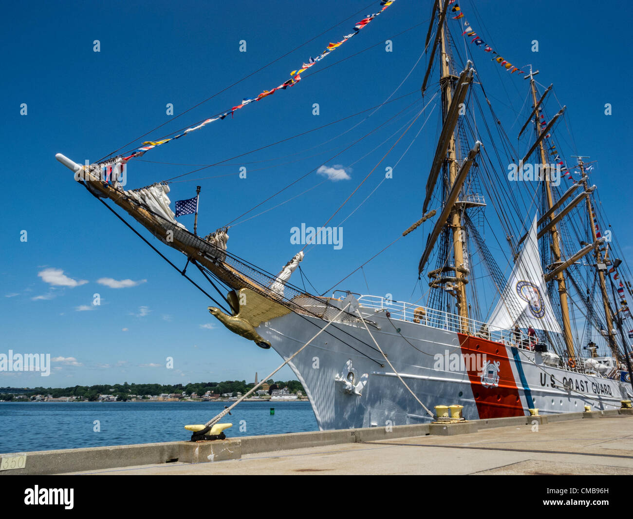 New London, Connecticut, USA - July 9, 2012: The US Coast Guard training ship Eagle moored at Fort Trumbull on theStock Photo