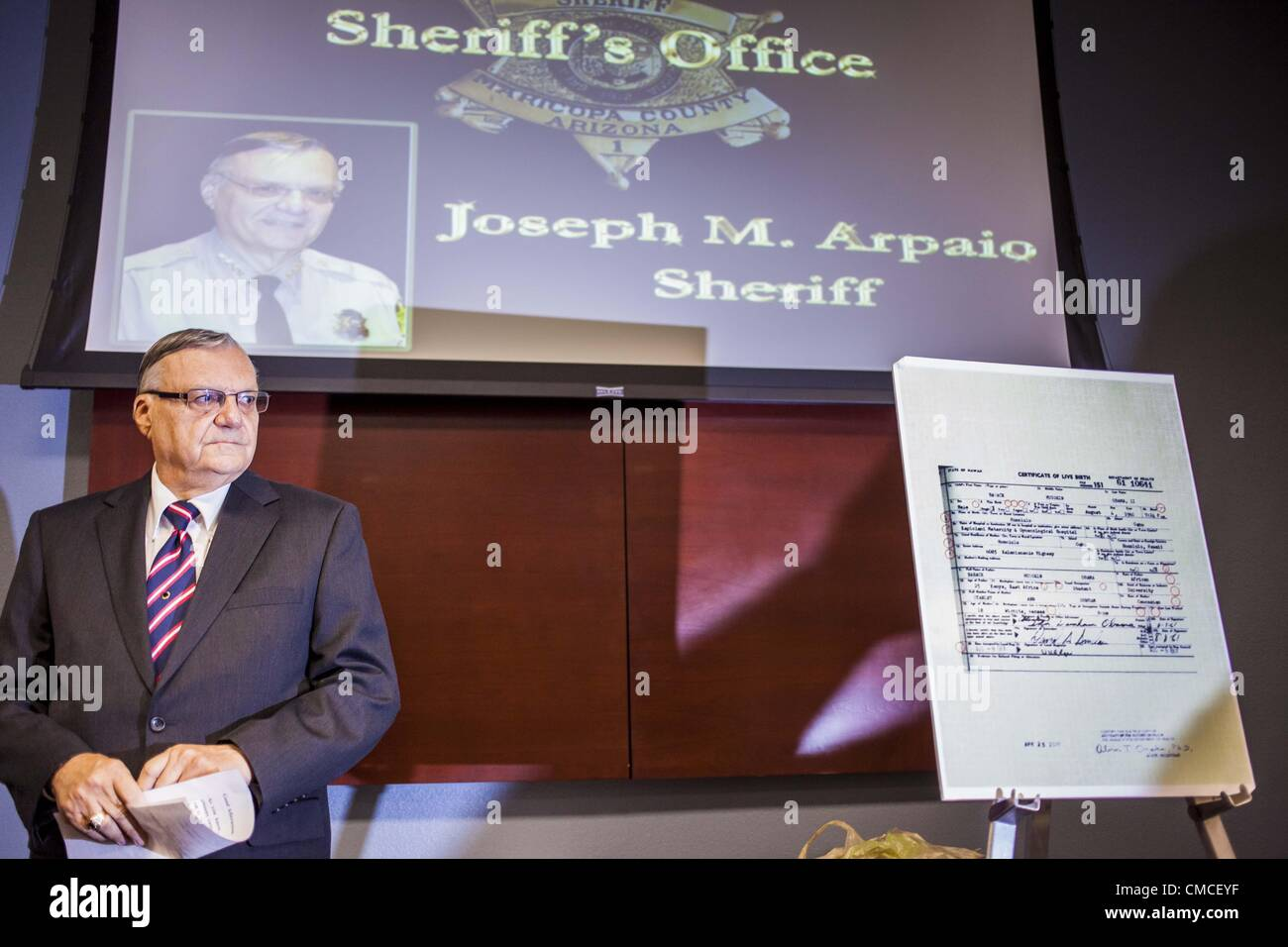 July 17 2012 Arizona Us Maricopa County Sheriff Joe Arpaio At