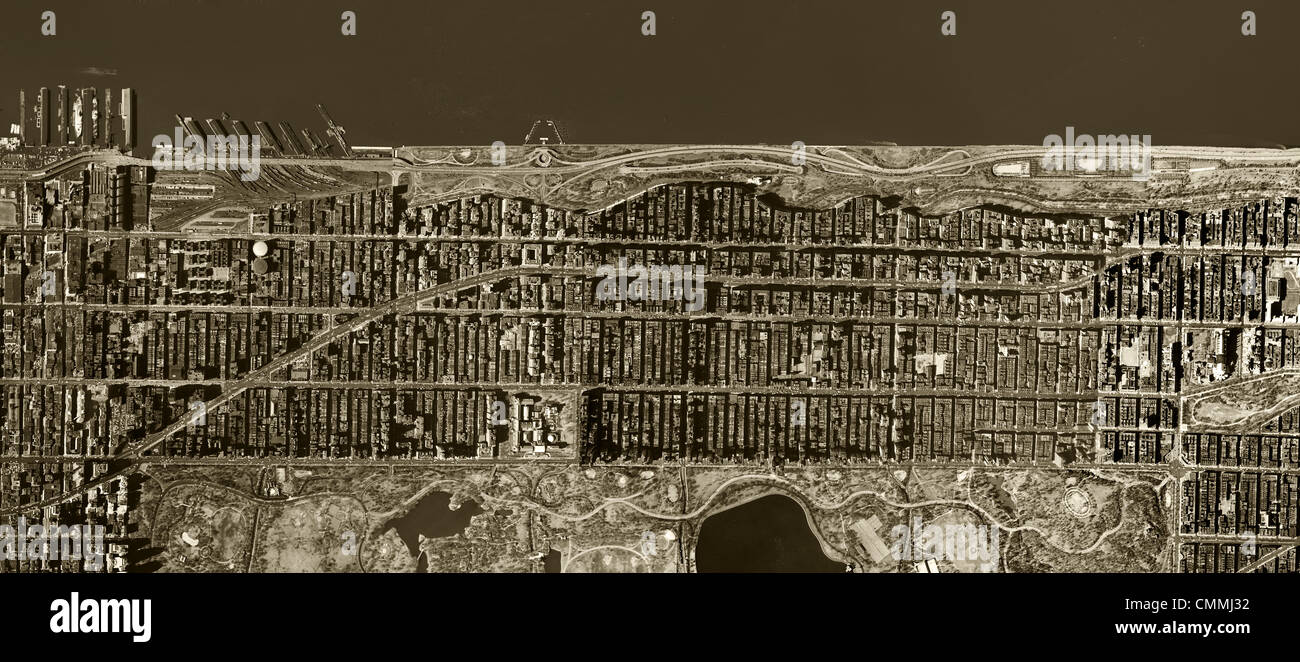 aerial photo map Upper West Side Manhattan New York City 1954