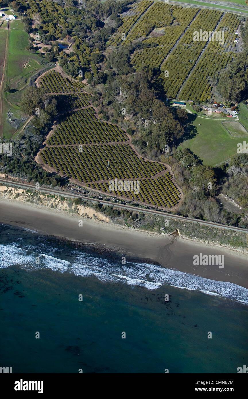aerial photograph of coastal farming Central Coast California - Stock Image