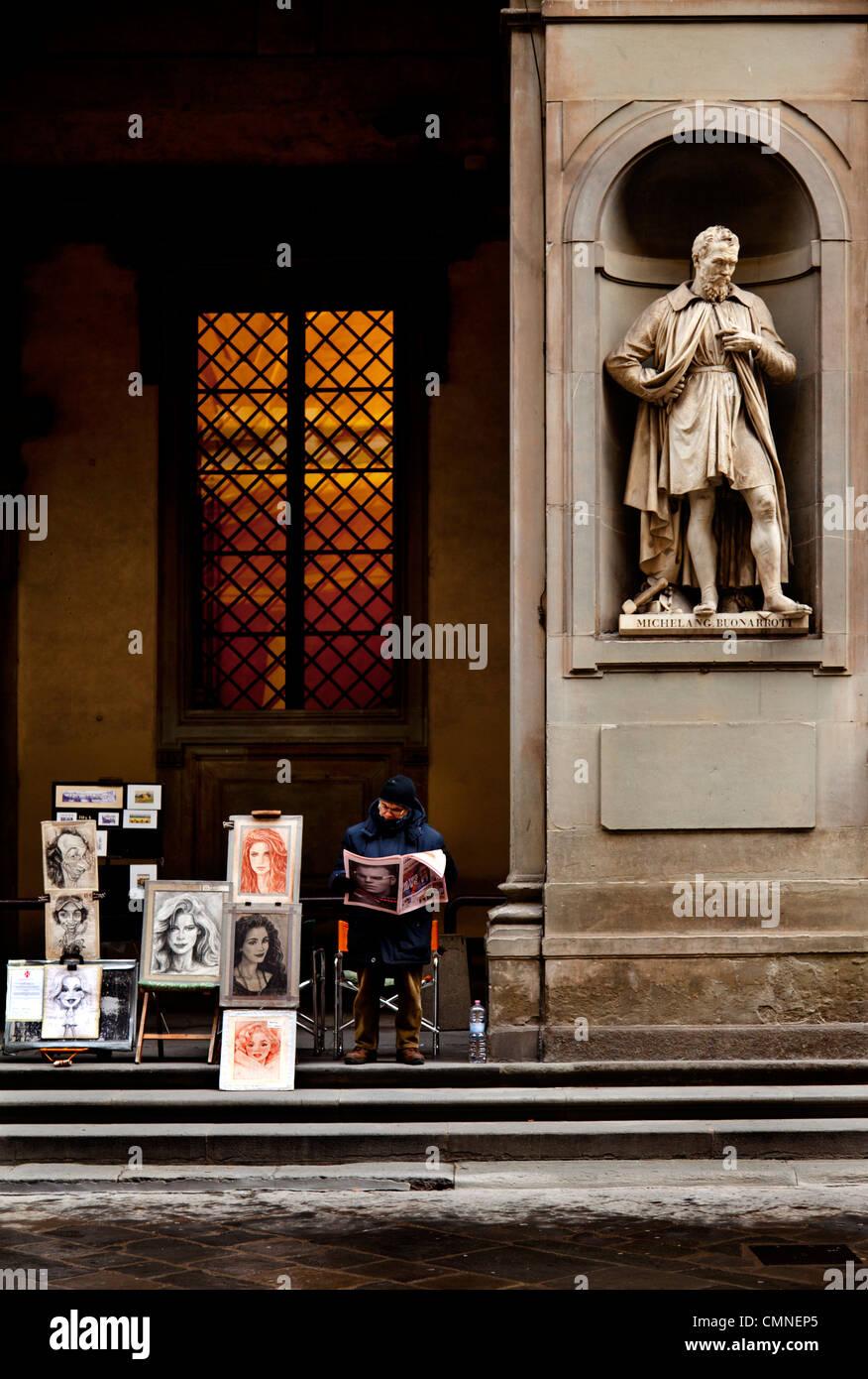 Portrait painter outside the Uffizi gallery - Stock Image