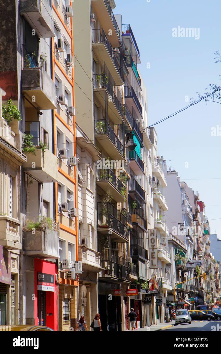Buenos Aires Argentina Avenida Montevideo street scene neighborhood urban housing apartment buildings hotel facade - Stock Image