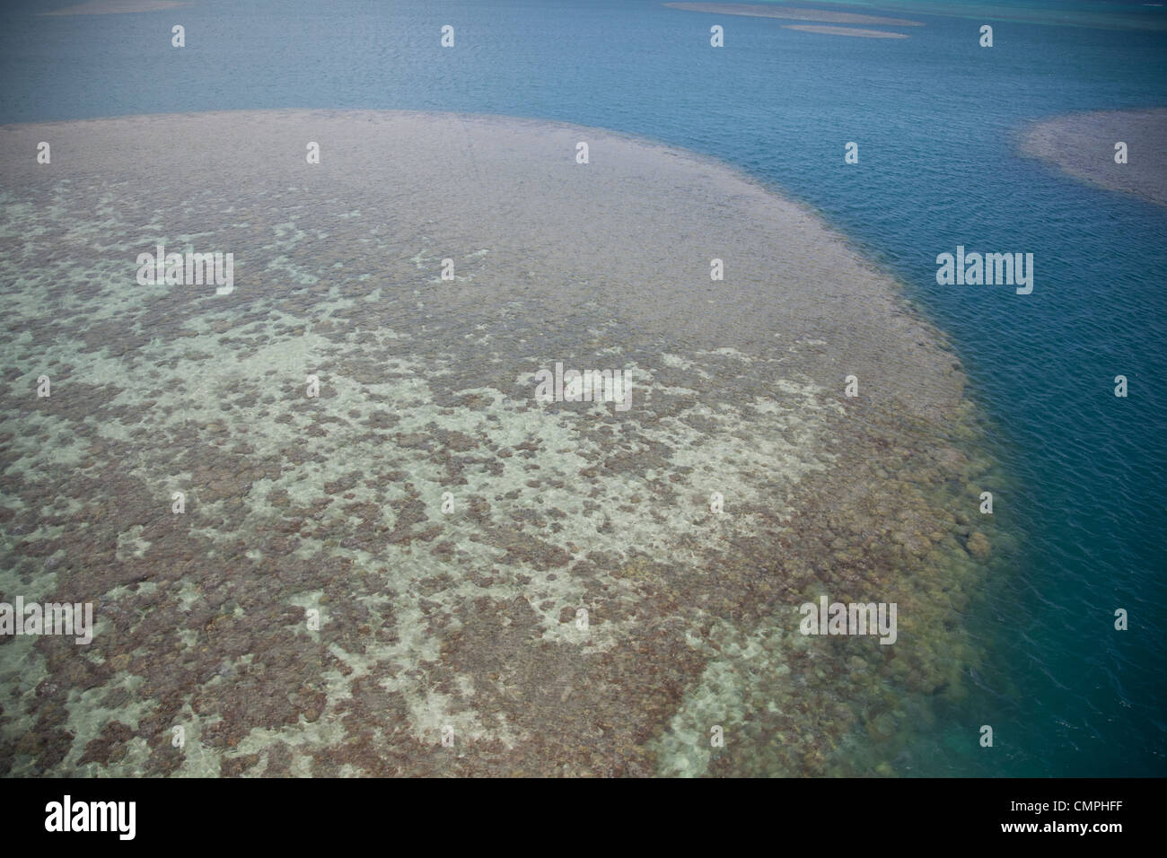 Coral atoll off Kaneohe Hawaii - Stock Image