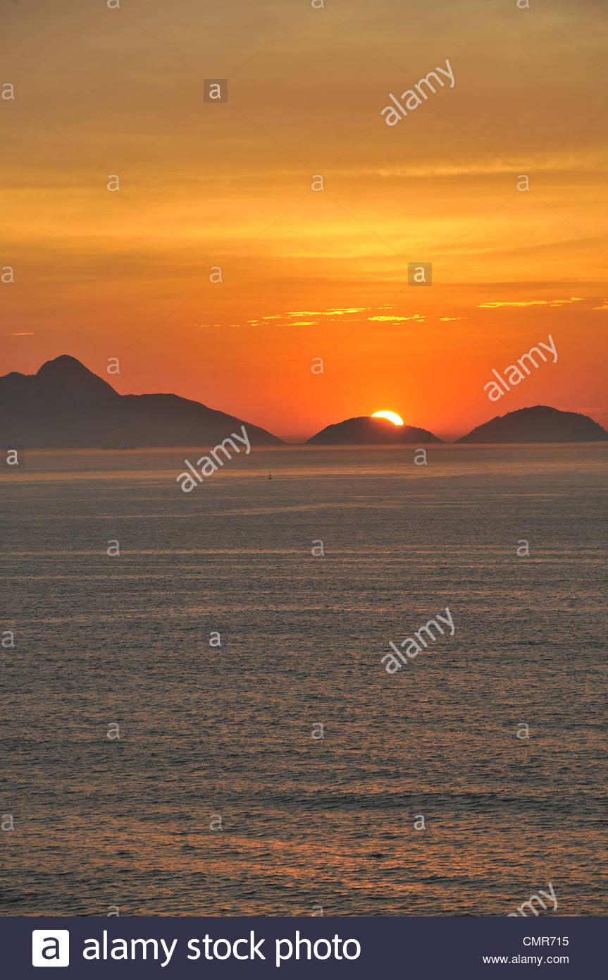 sunset over Guanabana bay Rio de Janeiro Brazil - Stock Image