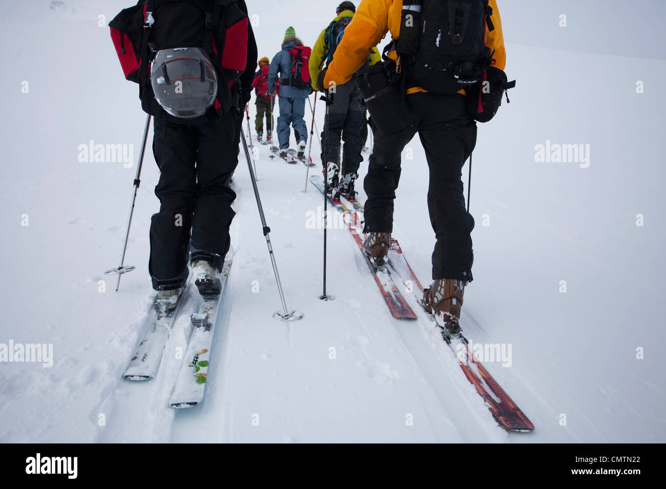 Low section of skiers on tour - Stock Image