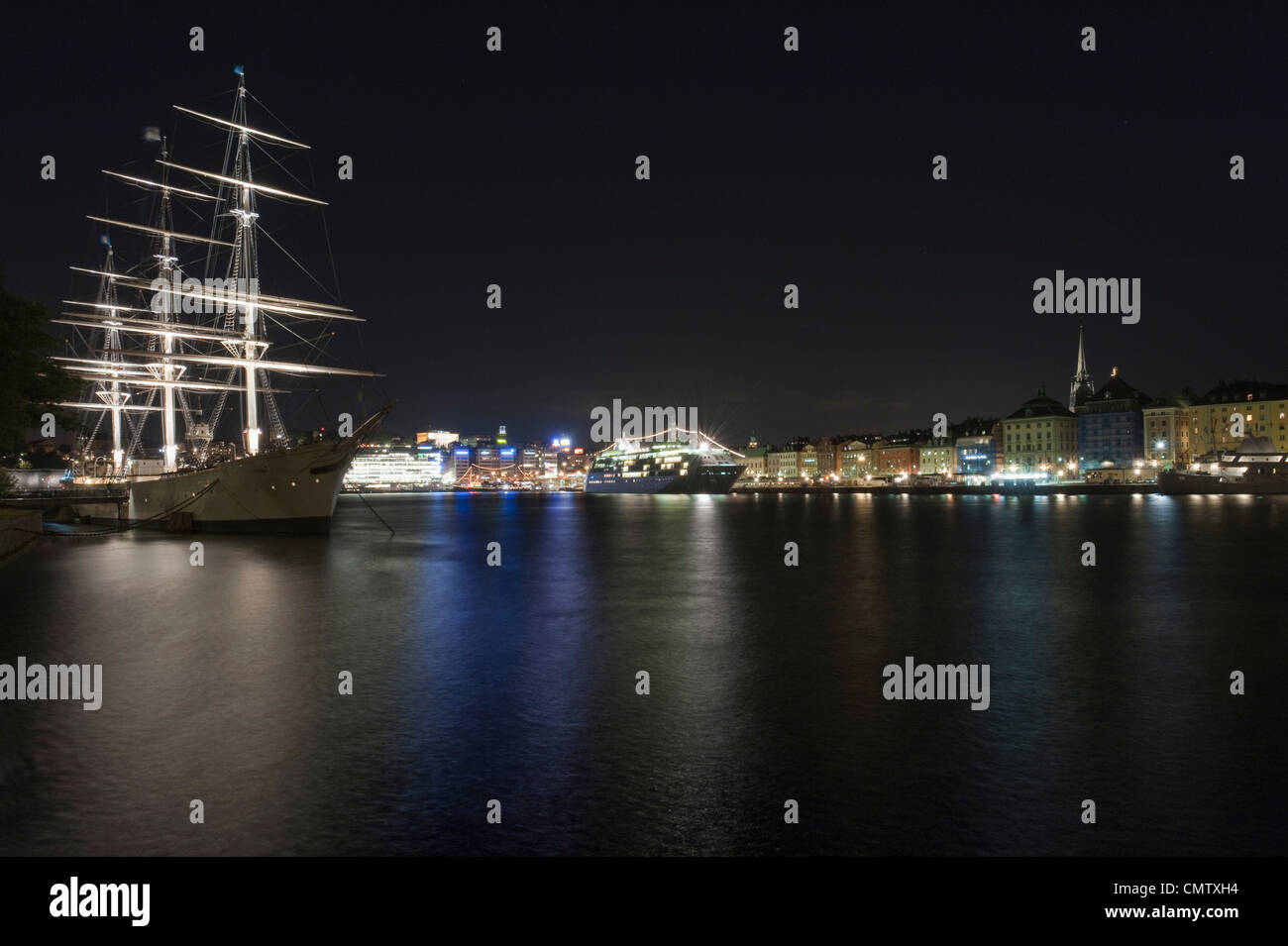 Sailing ship in urban environment - Stock Image