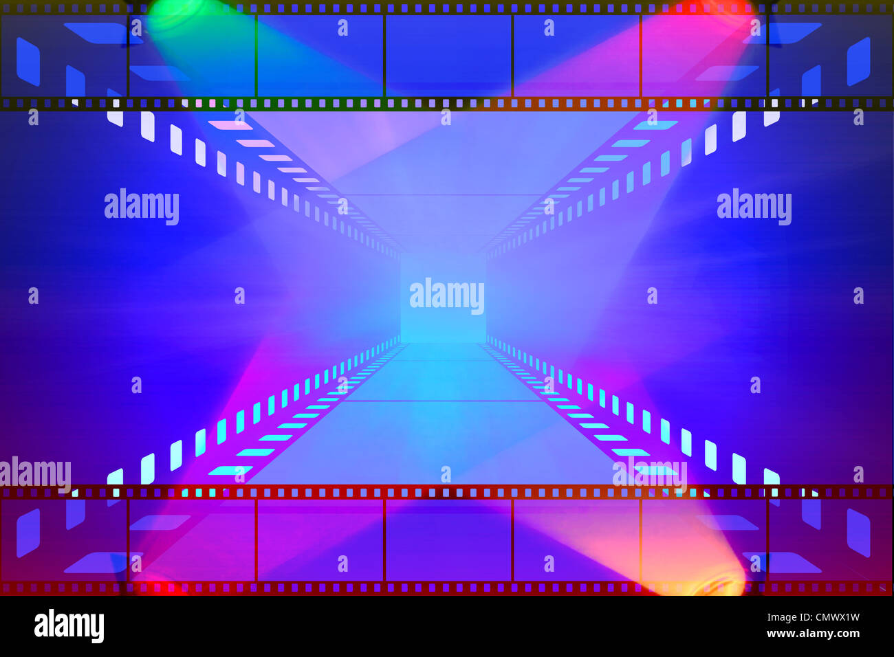 cinema movie projector and film - Stock Image
