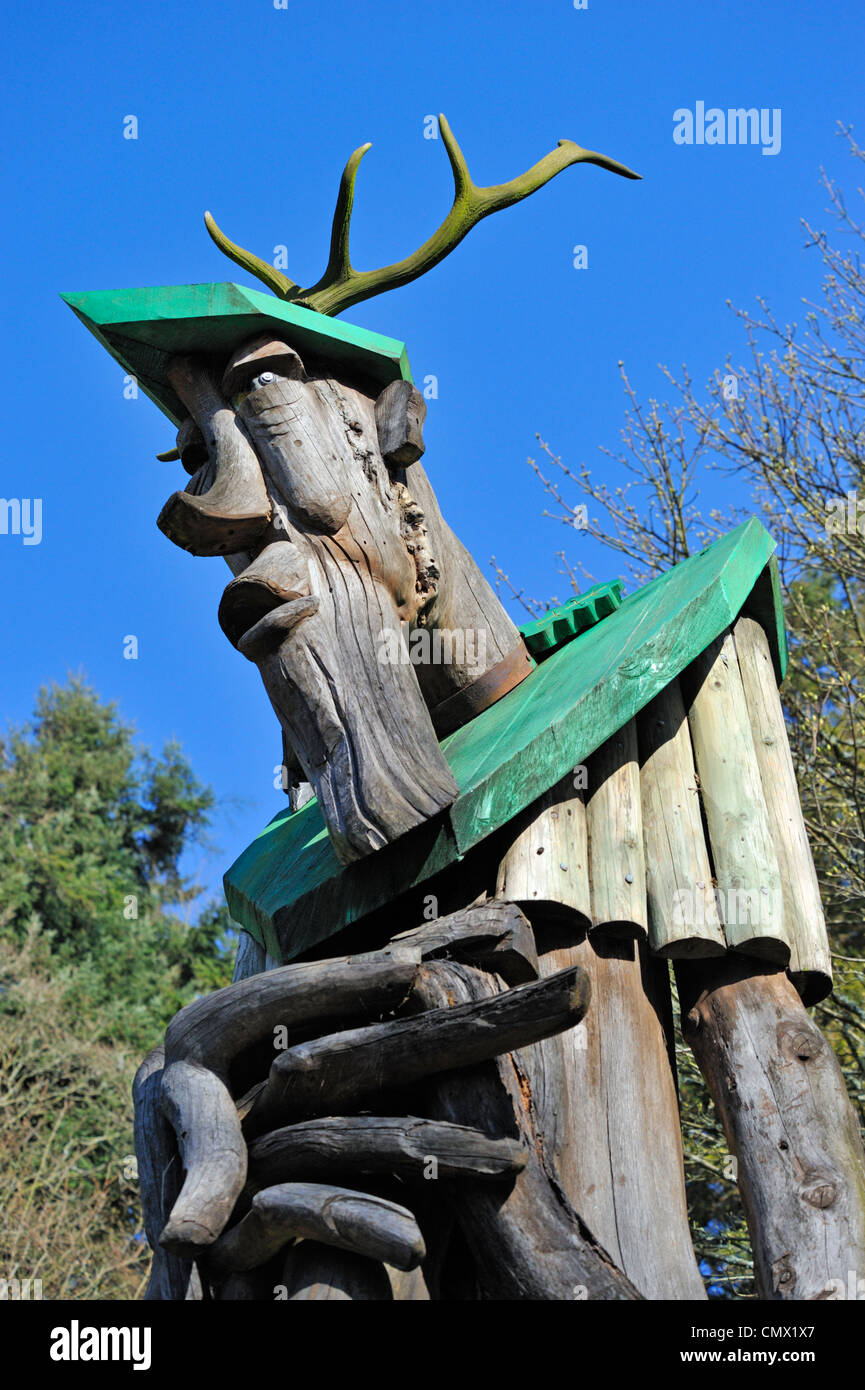 'Ancient Forester II', Outdoor sculpture by David Kemp, 1995. Grizedale Forest Park, Lake District National Park,Stock Photo