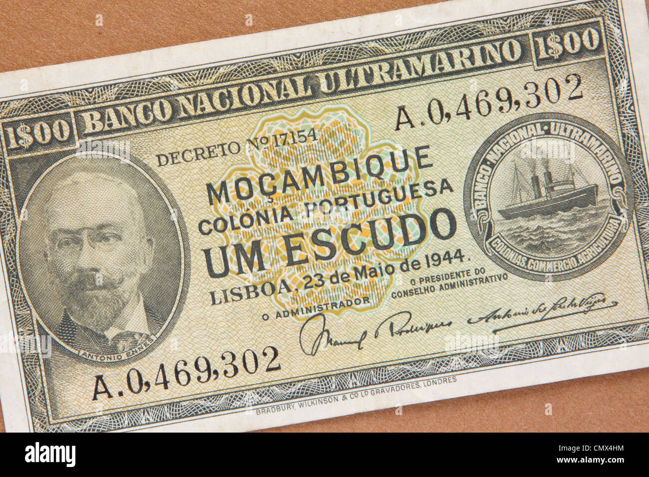 Mozambique - bank note from the former Portuguese colony of Mozambique Mocambique dated 1944 issued in Lisbon - Stock Image