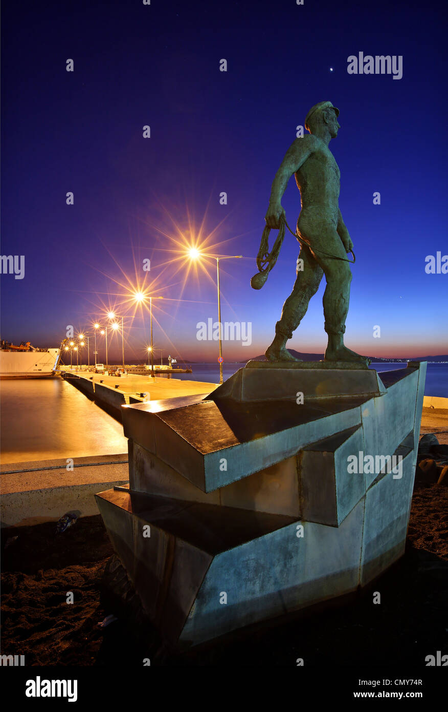 The statue of the 'Sailor from Vatika', at the port of Neapolis, Lakonia, Peloponnese, Greece - Stock Image