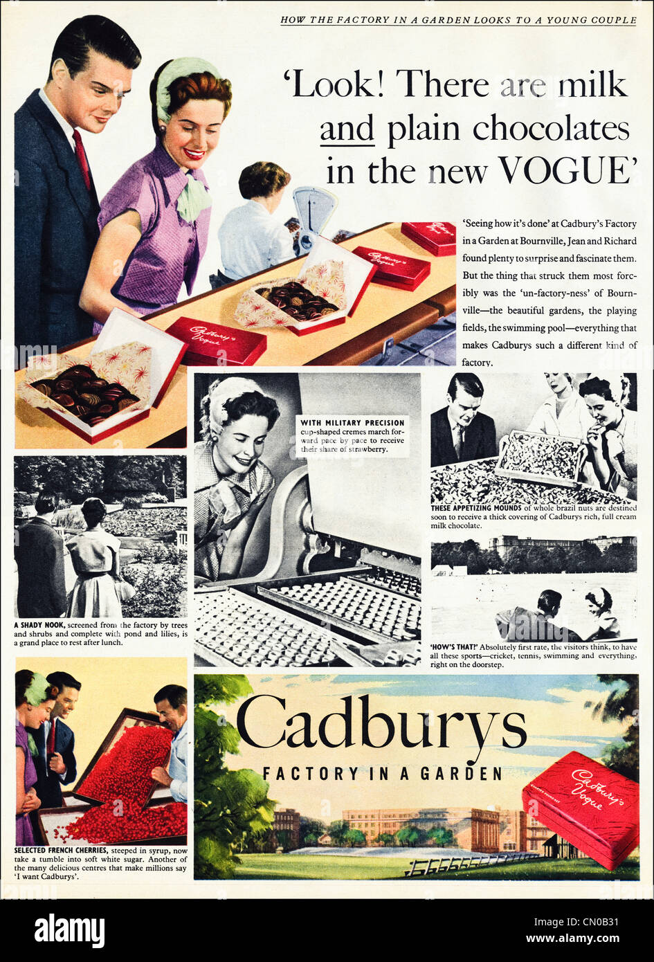 CADBURYS Factory In A Garden At Bournville Advert Original Advertisement  From 1950s Period Magazine Advertising