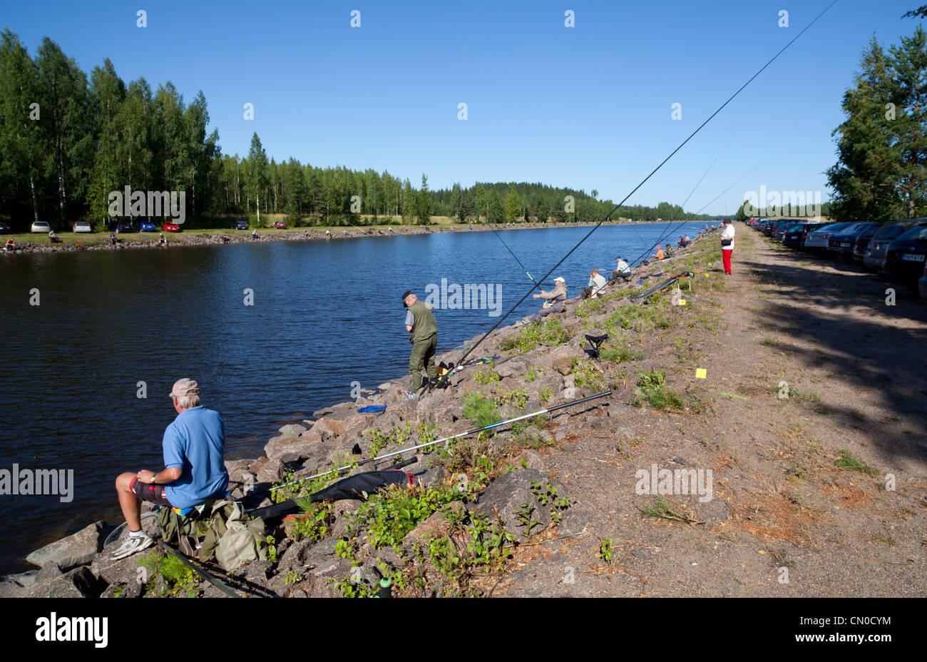 Finnish national championships of angling 2011 at Kansola Saimaa Canal. Veteran series (60+). , Finland - Stock Image