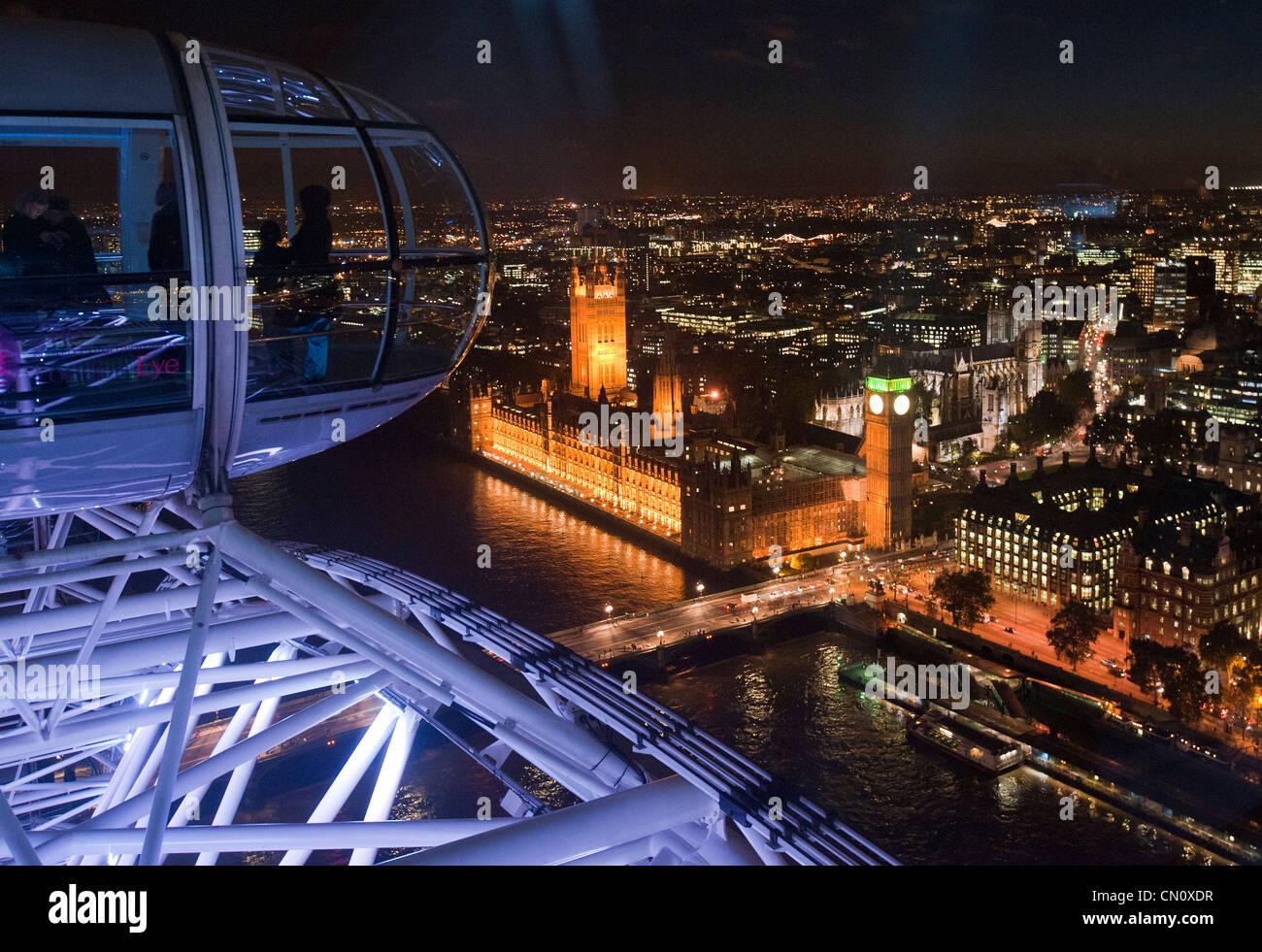 Big Ben near River Thames seen from the London Eye Ferris wheel in London, England, on November 4, 2009. (Adrien - Stock Image