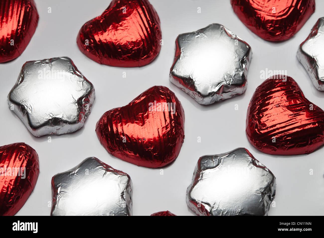 Chocolate Stars and Hearts - Stock Image