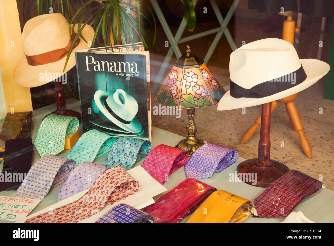 4cd6e32c166 Marbella Malaga Province Costa del Sol Spain. Panama hats and silk ties in  shop window