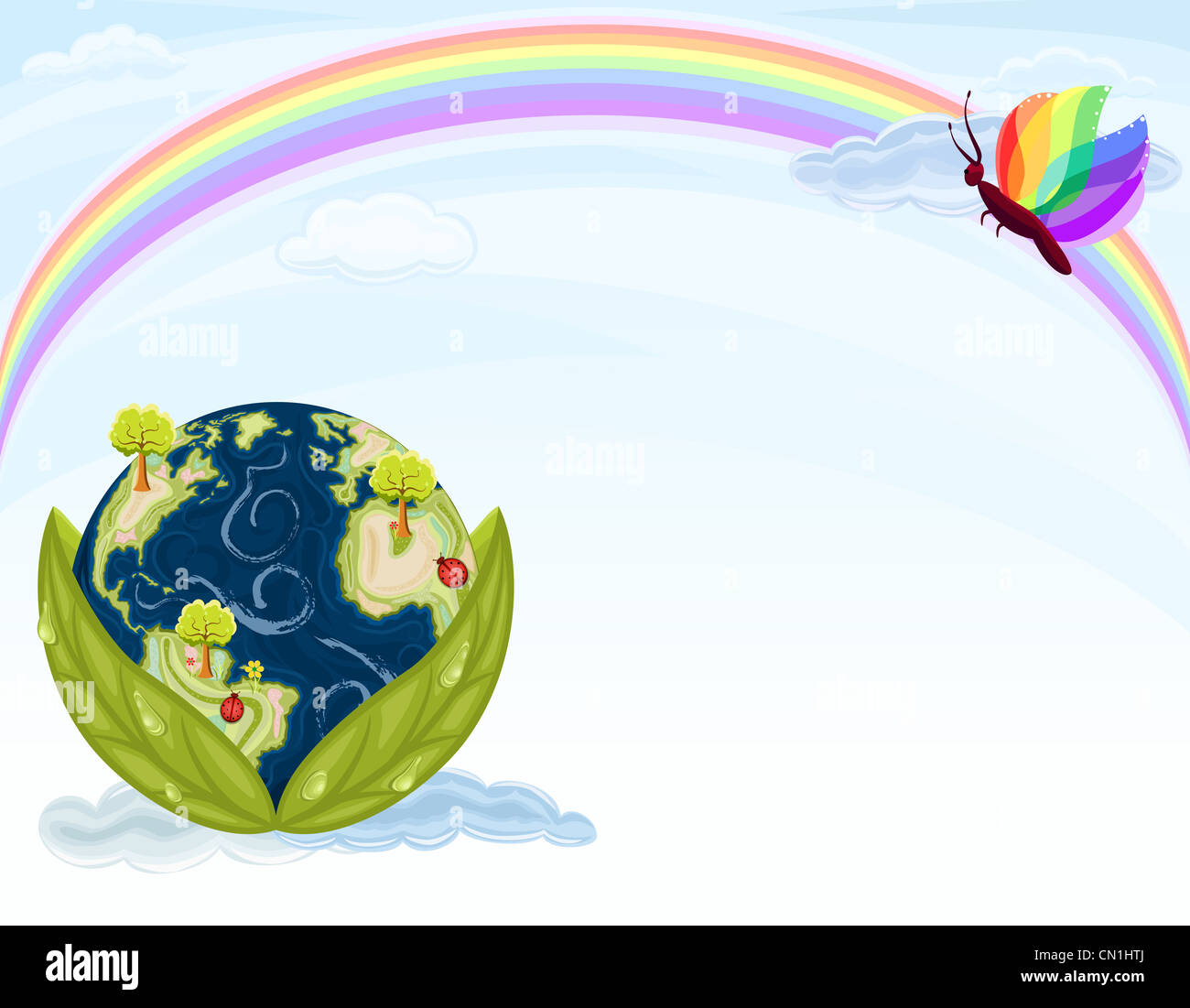 Green Earth - preserving our beautiful Nature. Planet Earth inside green leaves with blue sky and rainbow. - Stock Image