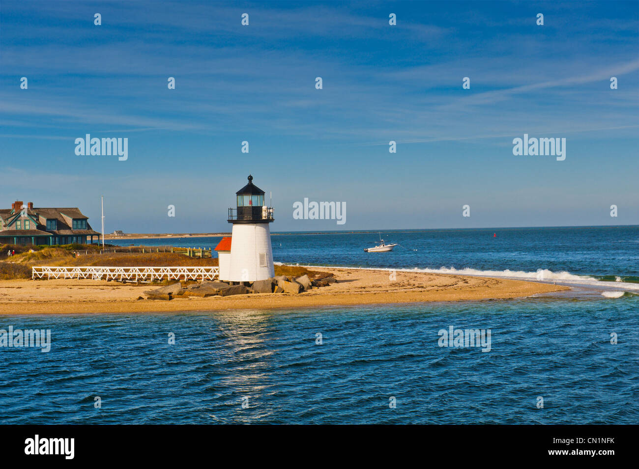 Brant Point Lighthouse in Nantucket Harbor Harbour, Nantucket Massachusetts USA. This landmark is the shortest lighthouse Stock Photo