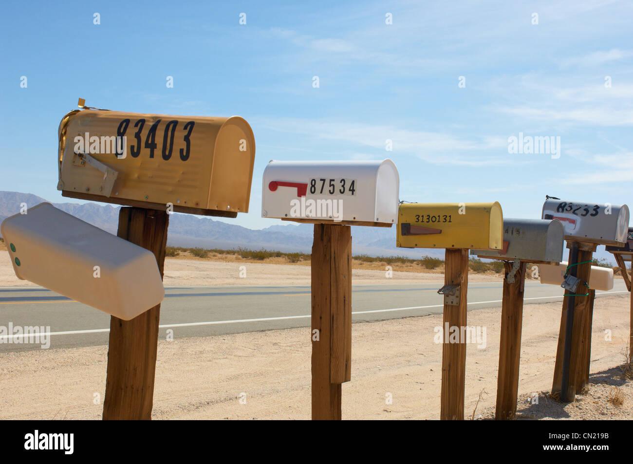 Mailboxes, Mojave Desert, California, USA - Stock Image