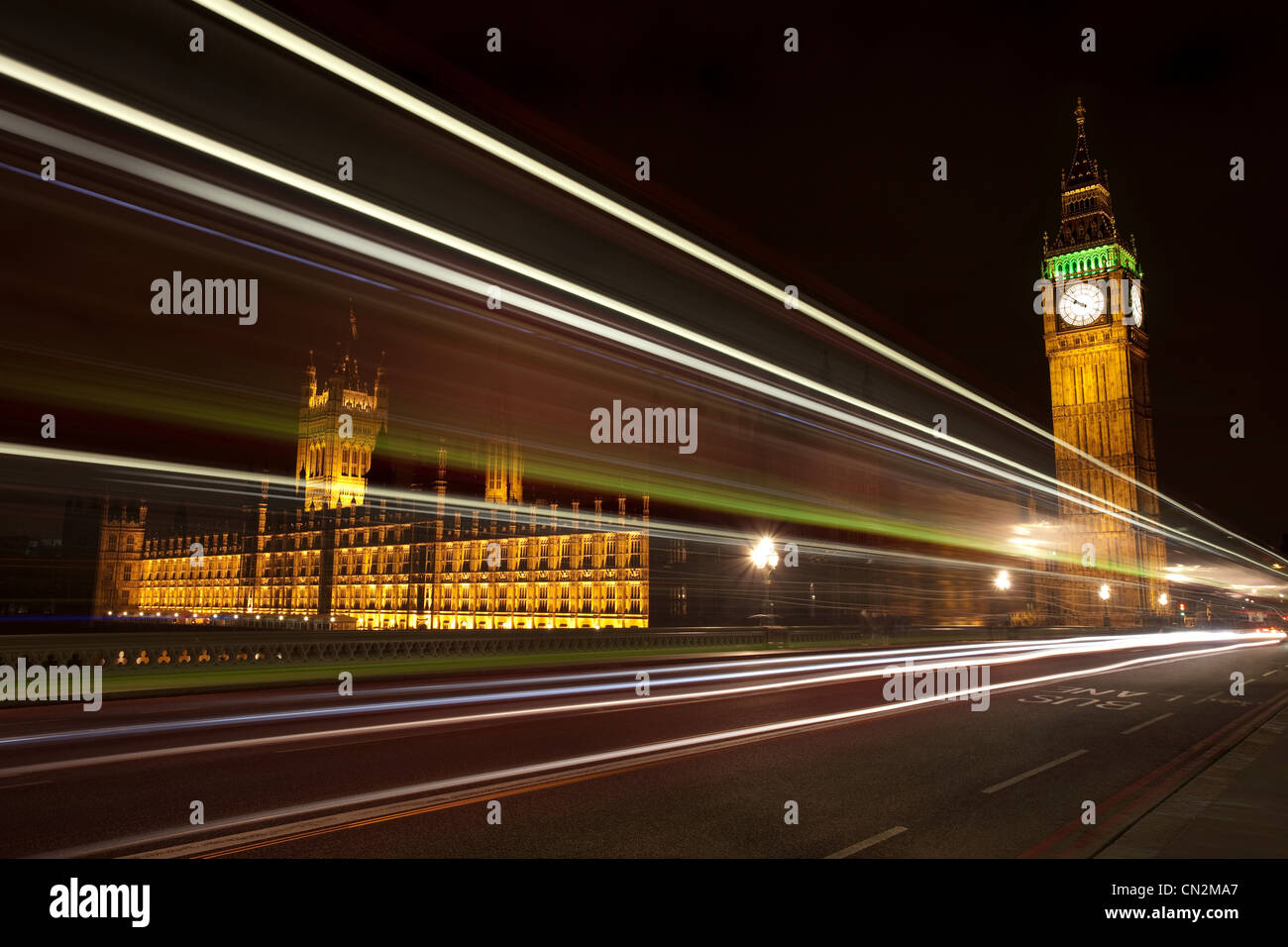 Light trails and Palace of Westminster,London, UK - Stock Image