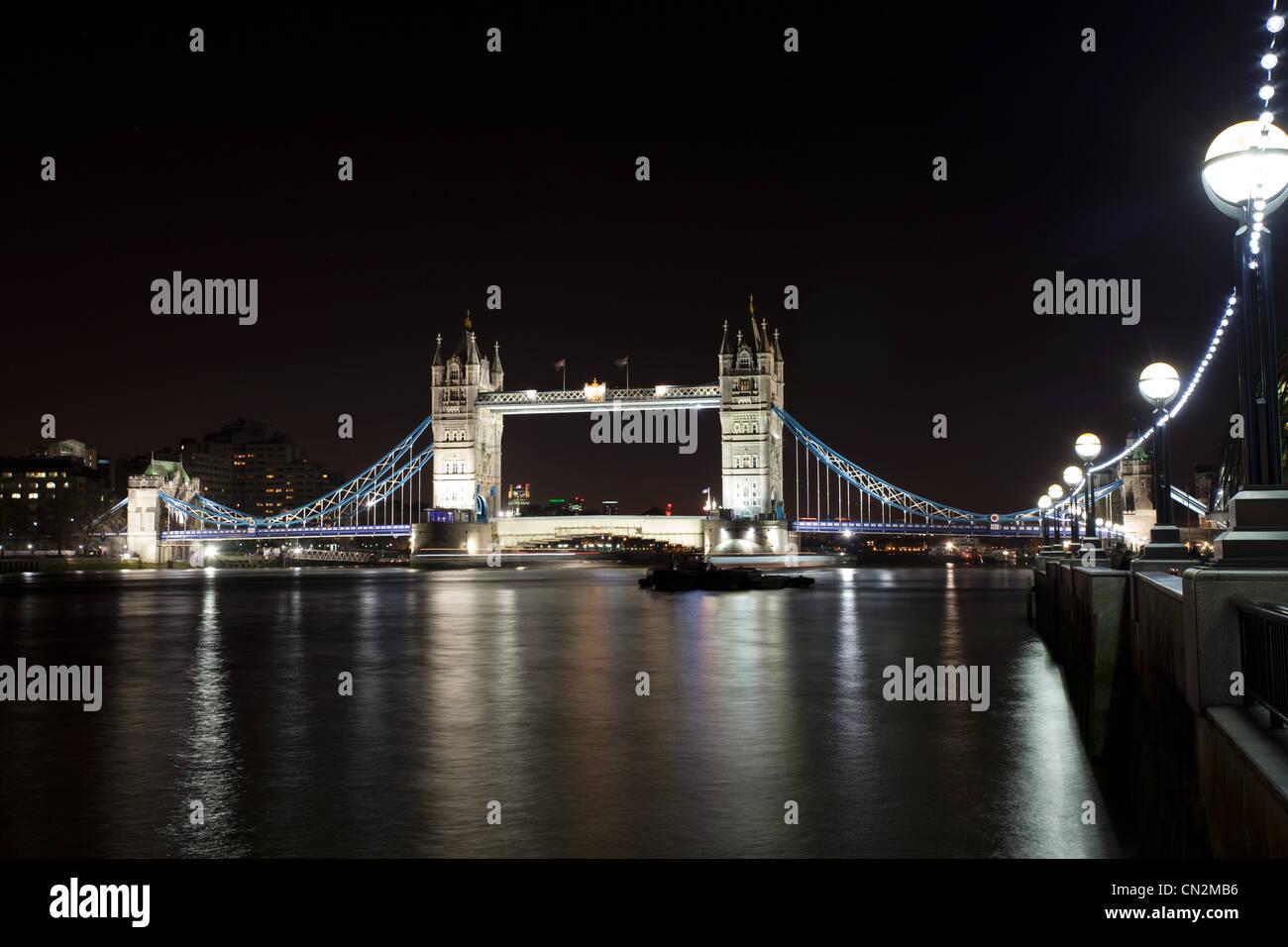 Tower Bridge over River Thames, London, UK - Stock Image