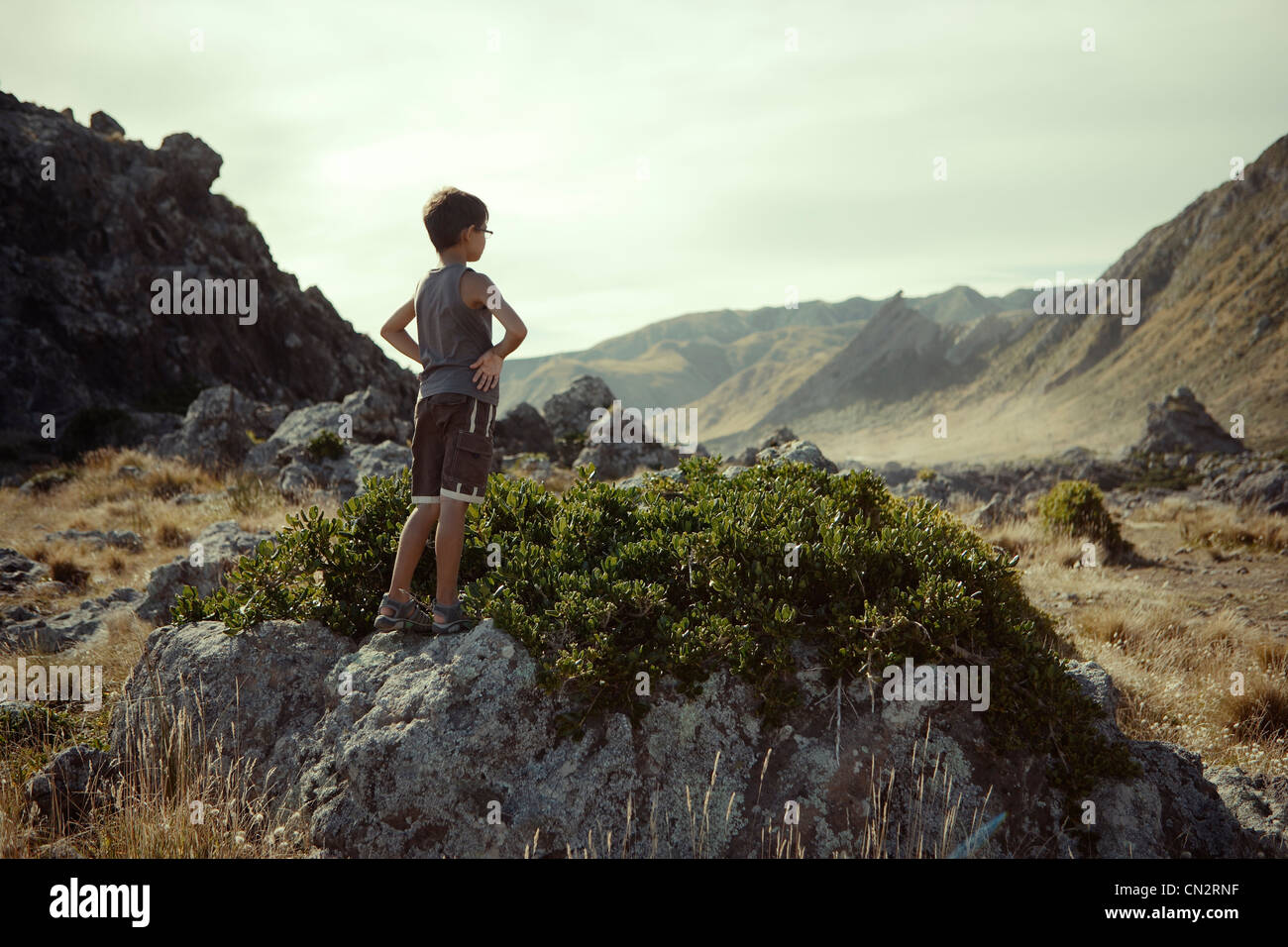 Boy views scenery, Cape Palliser, New Zealand. - Stock Image