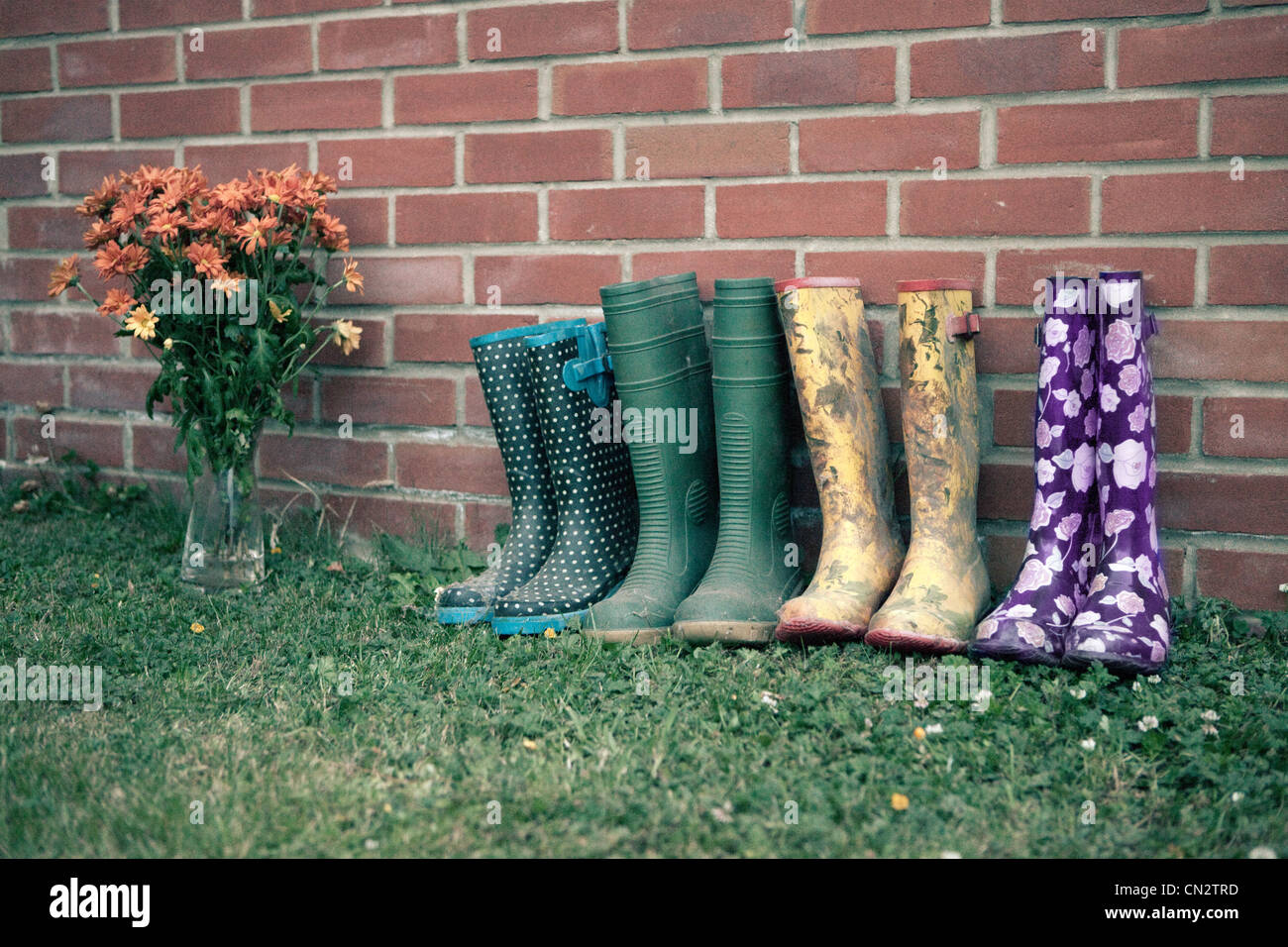 Wellington boots by brick wall - Stock Image