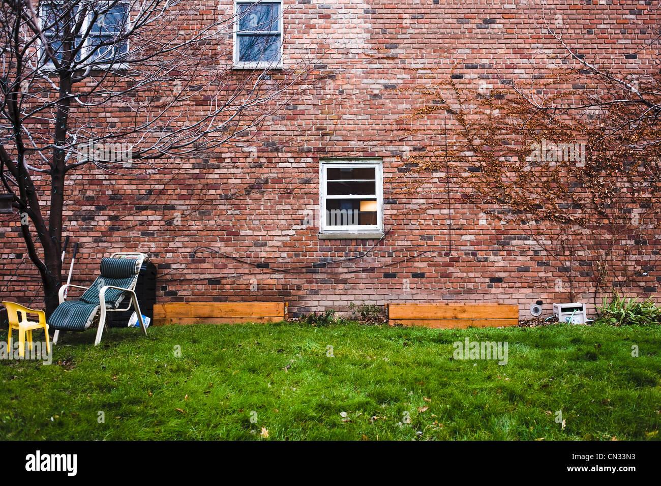 Brick apartment, Brooklyn, New York, USA - Stock Image