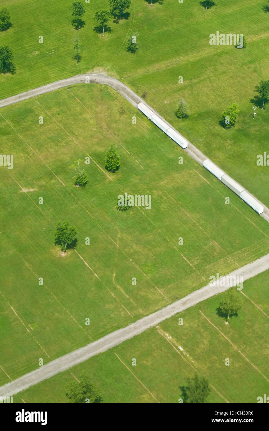 Aerial view of fields, Indiana, USA - Stock Image