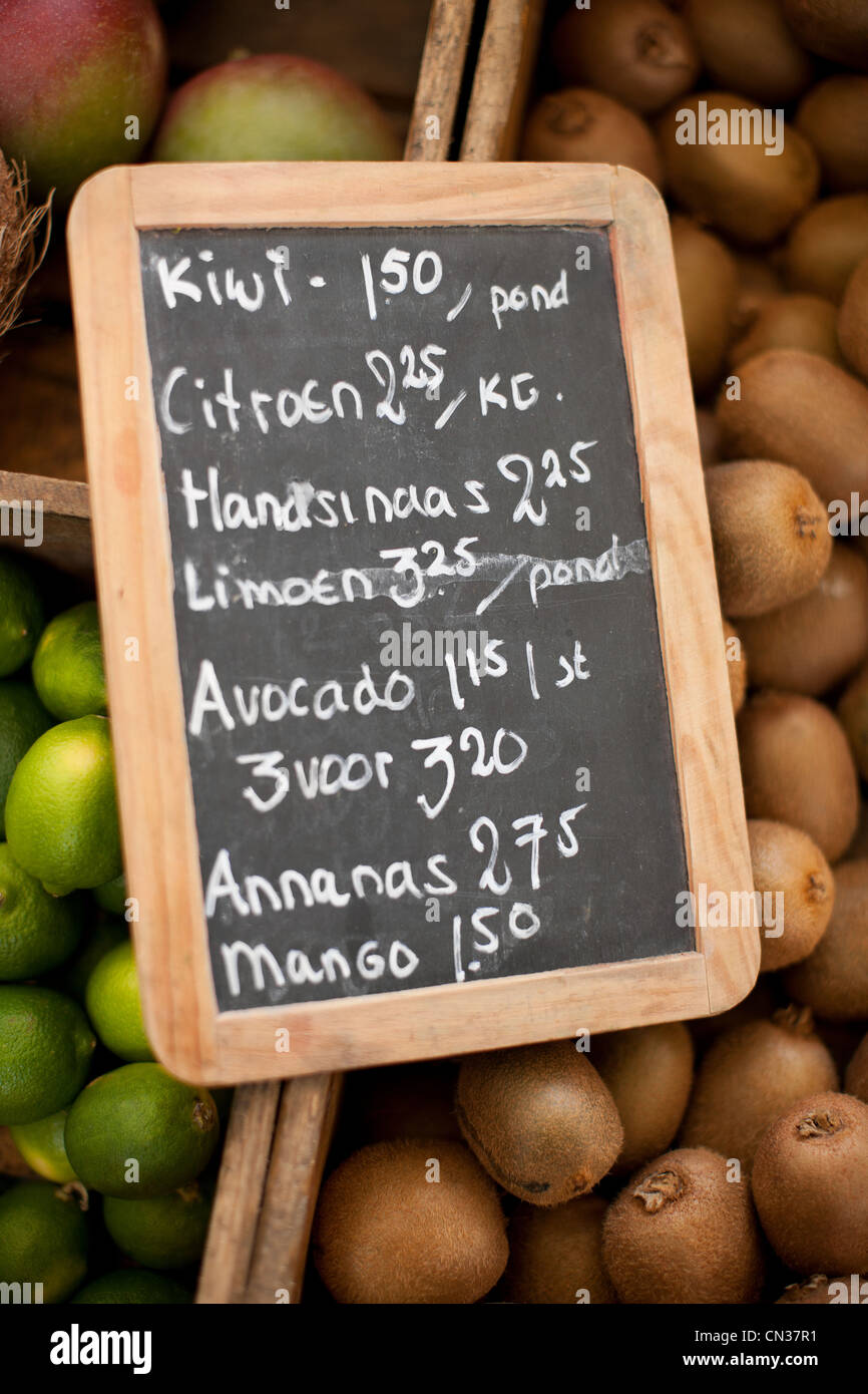 Sign on market stall in Amsterdam, Netherlands - Stock Image