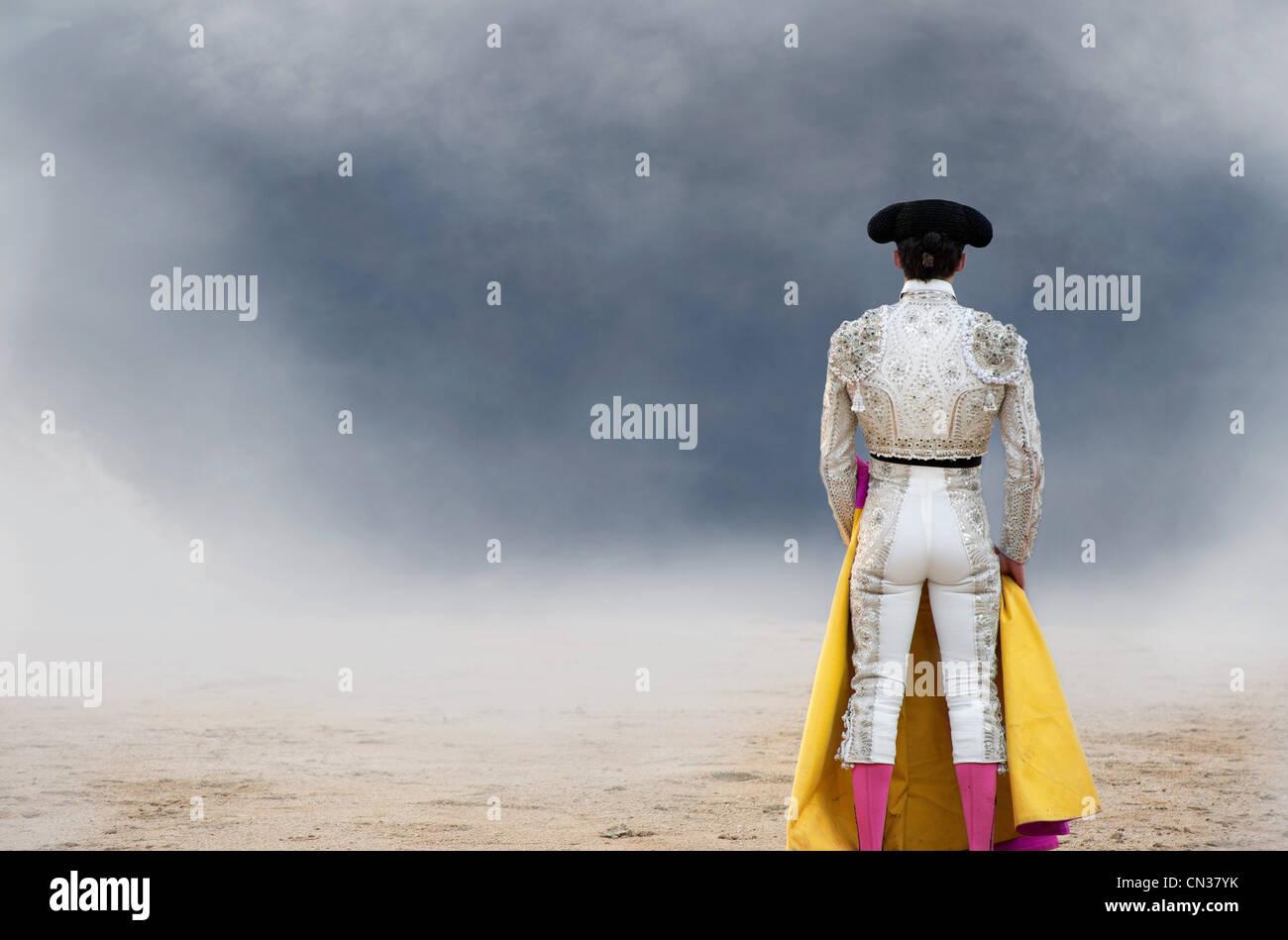 Bullfighter, rear view, Las Ventas bullring, Madrid - Stock Image