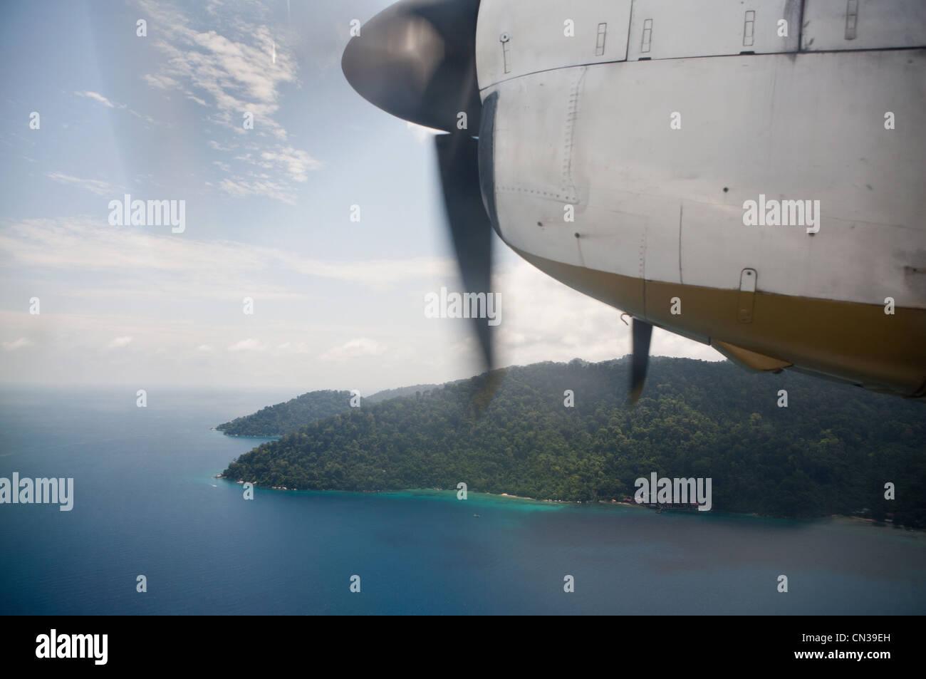 Tioman Island seen from propeller plane, Malaysia - Stock Image
