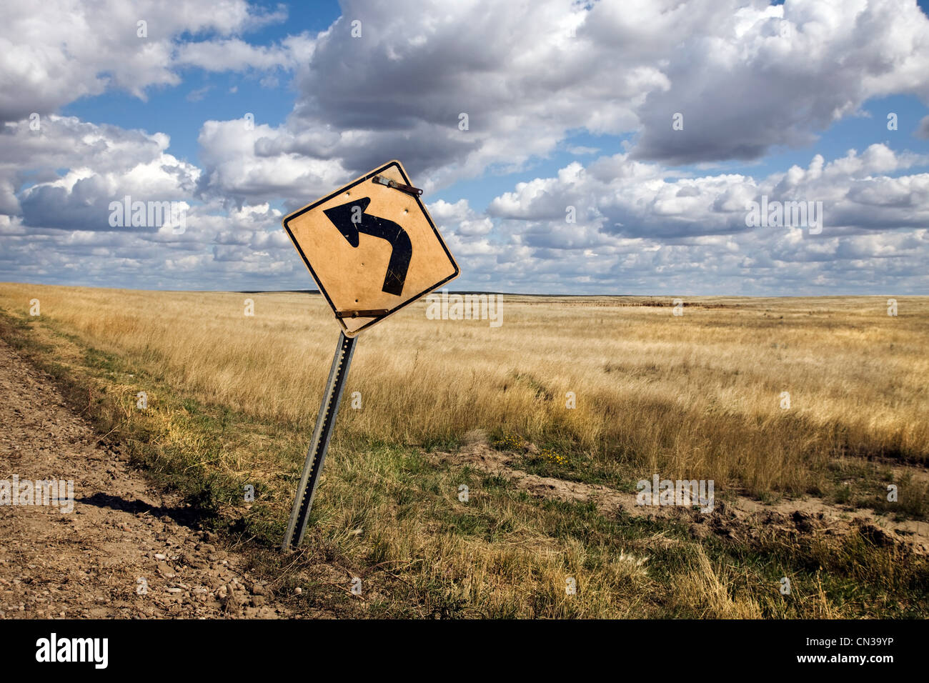Traffic sign next to field - Stock Image