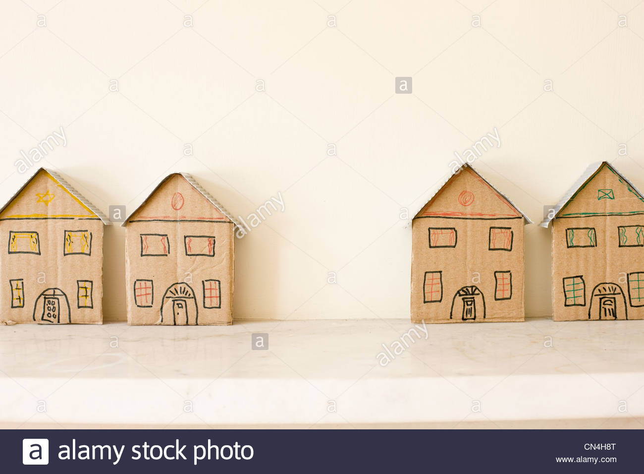Two pairs of detached model houses - Stock Image