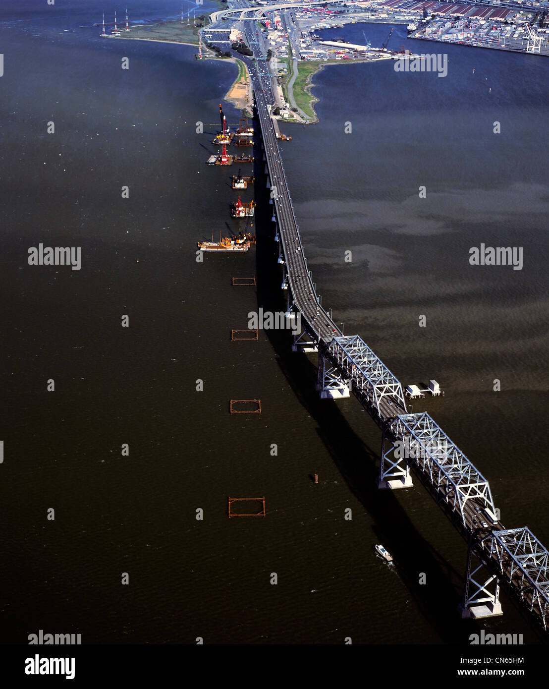 aerial photograph of San Francisco Oakland Bay Bridge construction - Stock Image