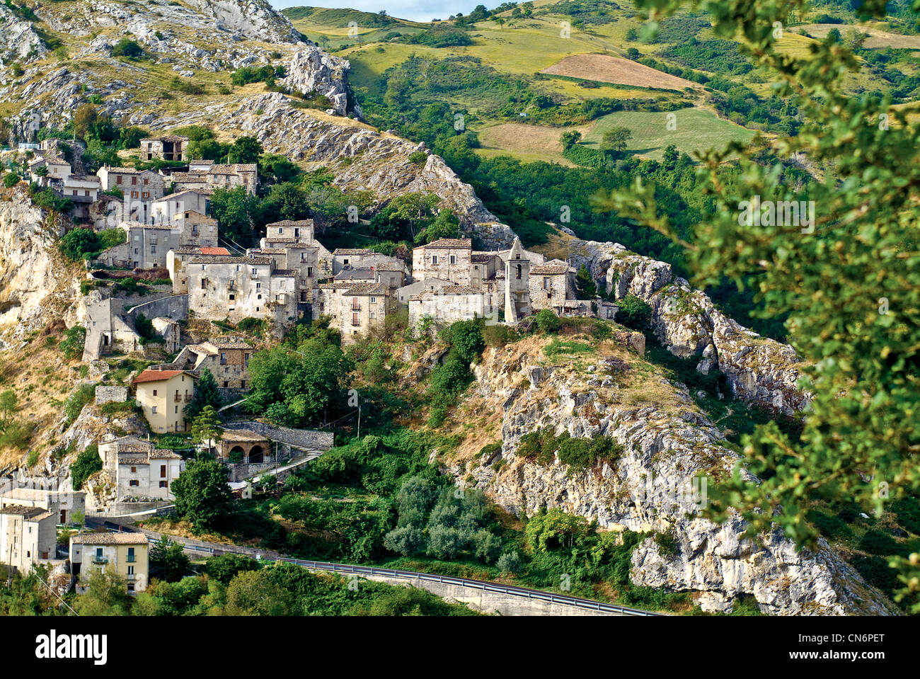 Europe Italy Abruzzo Gran Sasso Monti della laga national Park Province of Pescara Corvara View Stock Photo