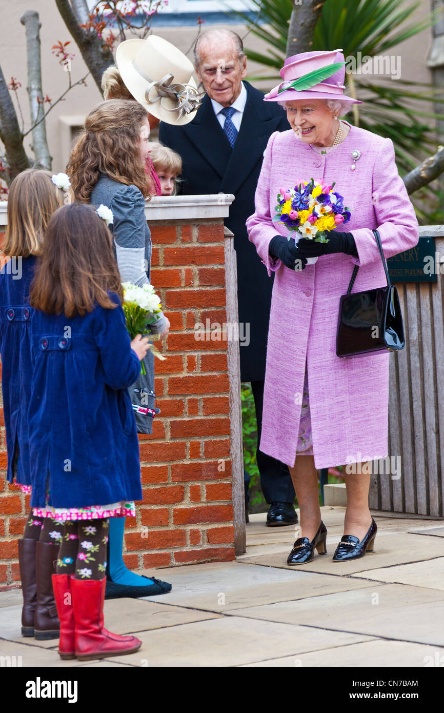 Her Majesty Queen Elizabeth II and the Duke of Edinburgh at the Dean of Windsor's House, Windsor Castle, Easter - Stock Image