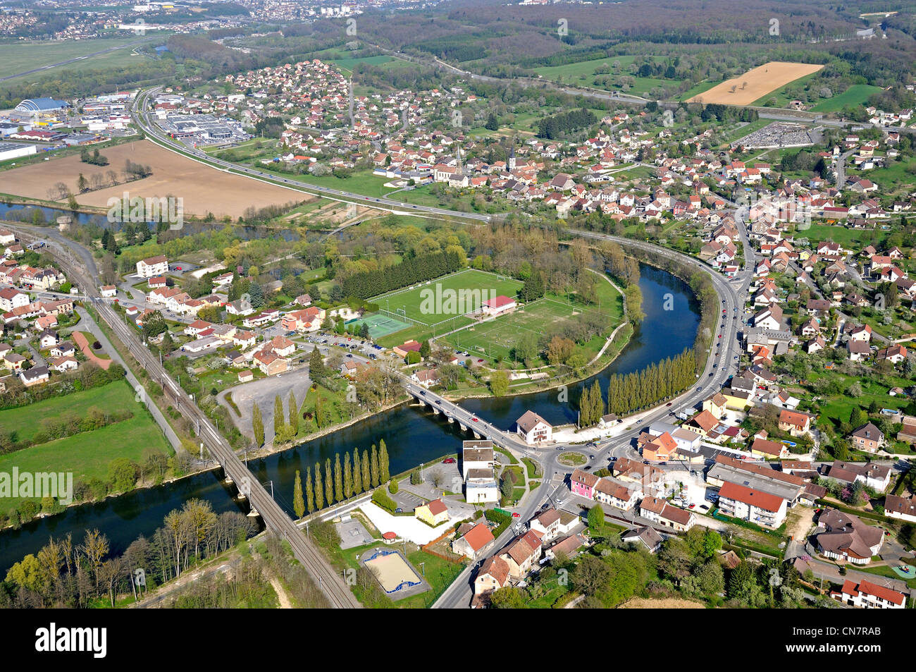 France, Doubs, Doubs valley, Voujeaucourt (aerial view) - Stock Image