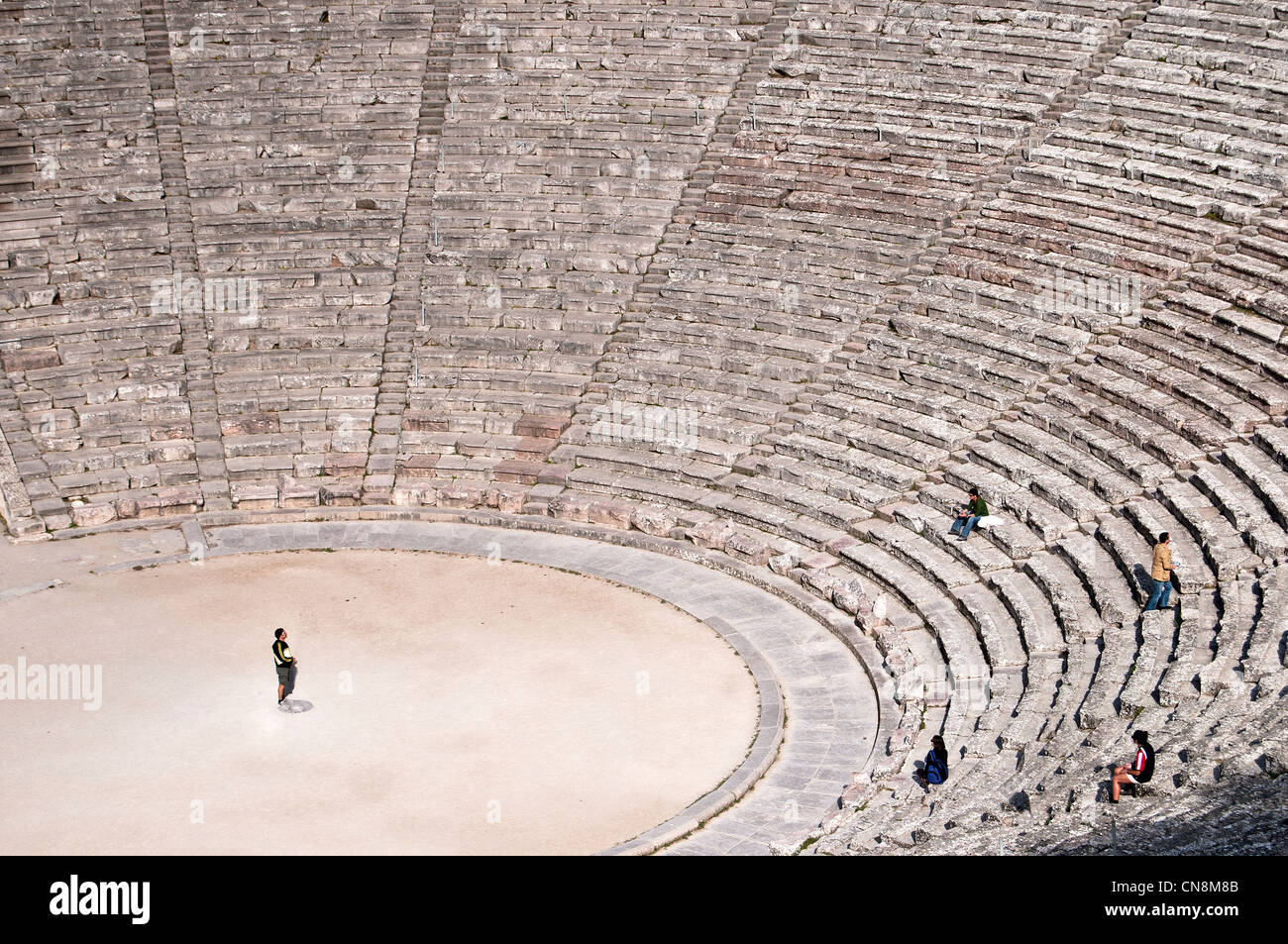 Epidaurus , the famous ancient classical greek theater with exceptional acoustics, built 4-th century BC- Peloponnese, Stock Photo