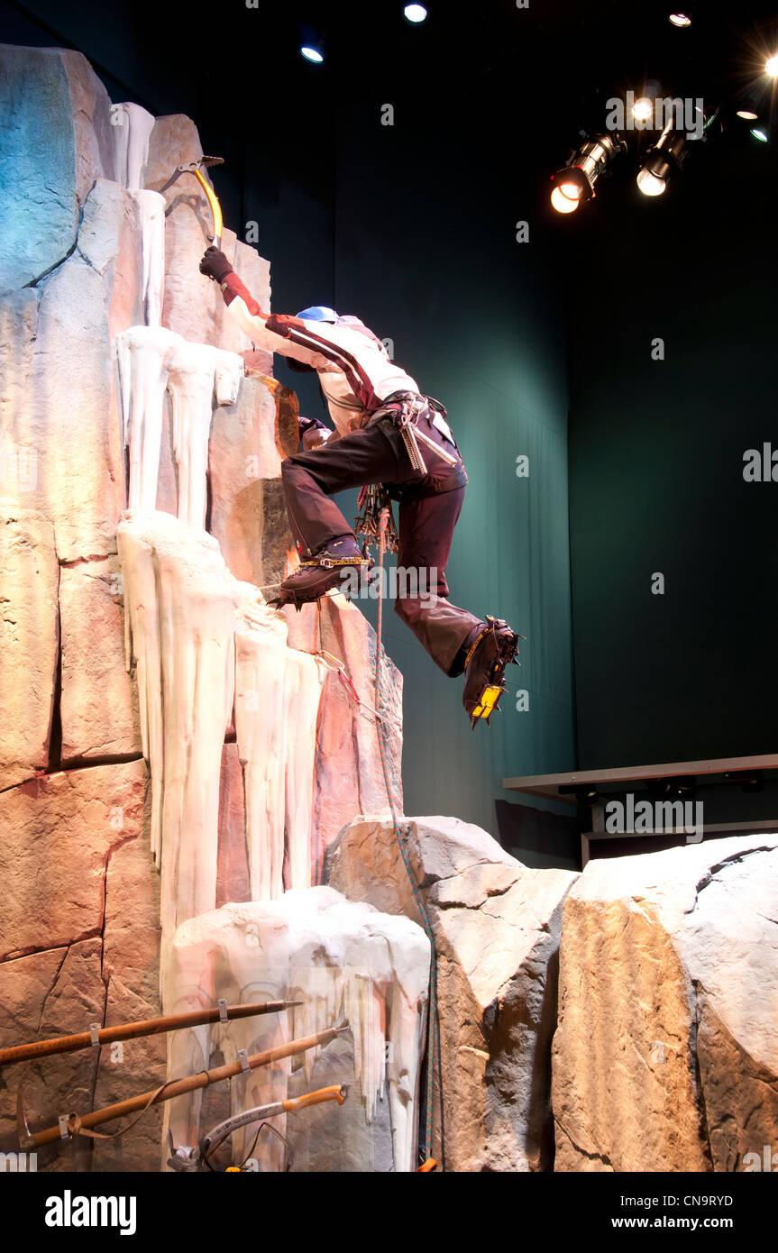 Climbing display, American Mountaineering Museum, Golden, Colorado. - Stock Image