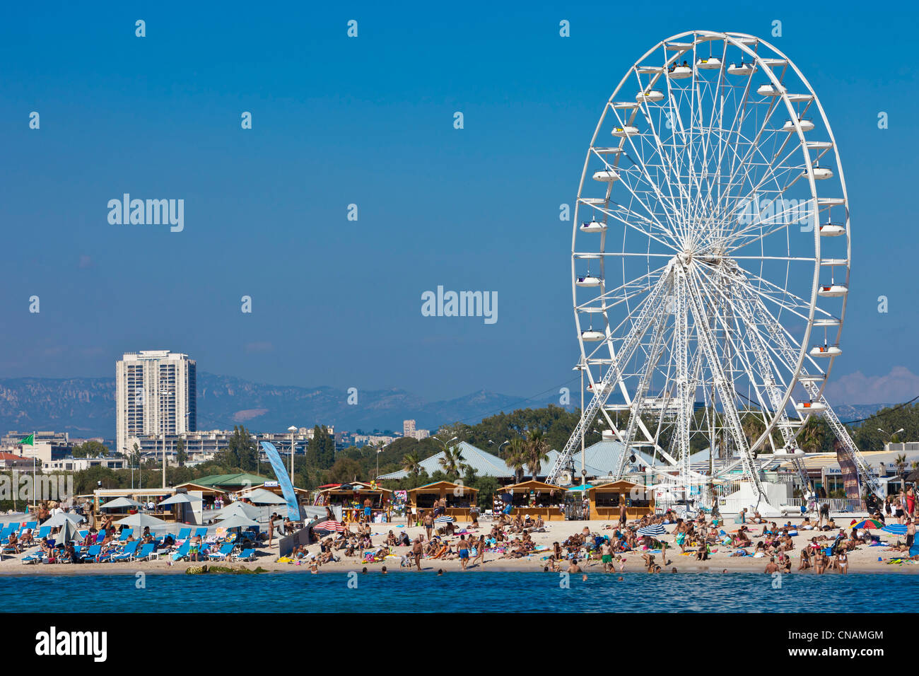 France, Bouches du Rhone, Marseille, the Prado beaches, Bonneveine beach - Stock Image
