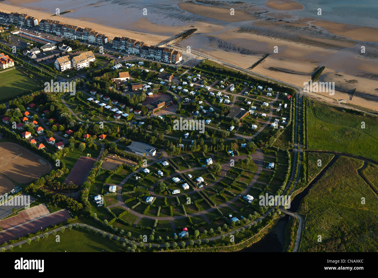 France, Calvados, Courseulles Sur Mer, Camping (aerial View)   Stock Image