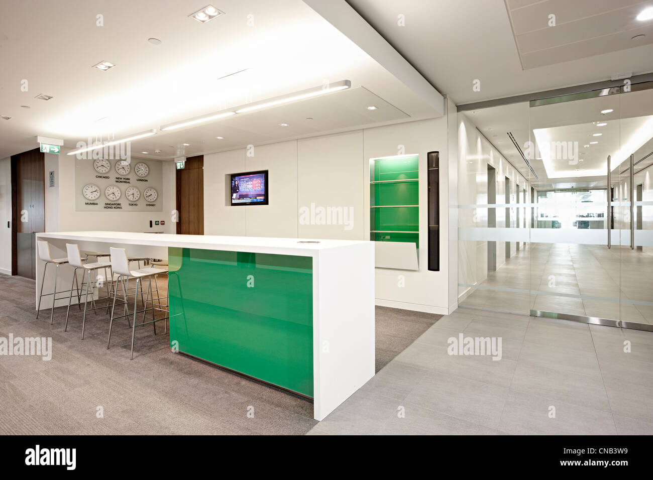 Green Glass Wall Meeting Room City Office Bank