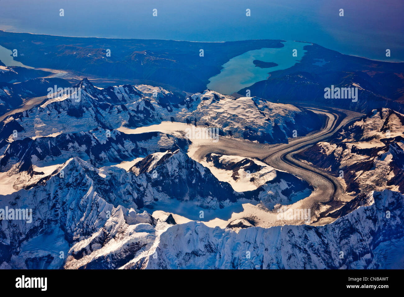 Aerial view of Coastal Mountains and glaciers north of Juneau, Southeast Alaska, Summer - Stock Image