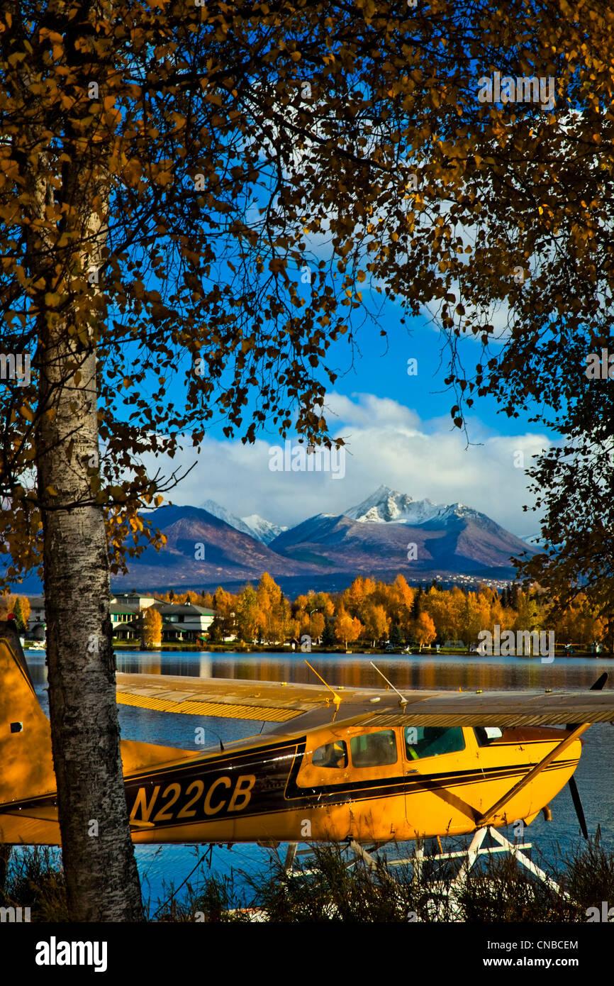 Float plane moored at Lake Hood Seaplane Base, Anchorage, Southcentral Alaska, Autumn - Stock Image