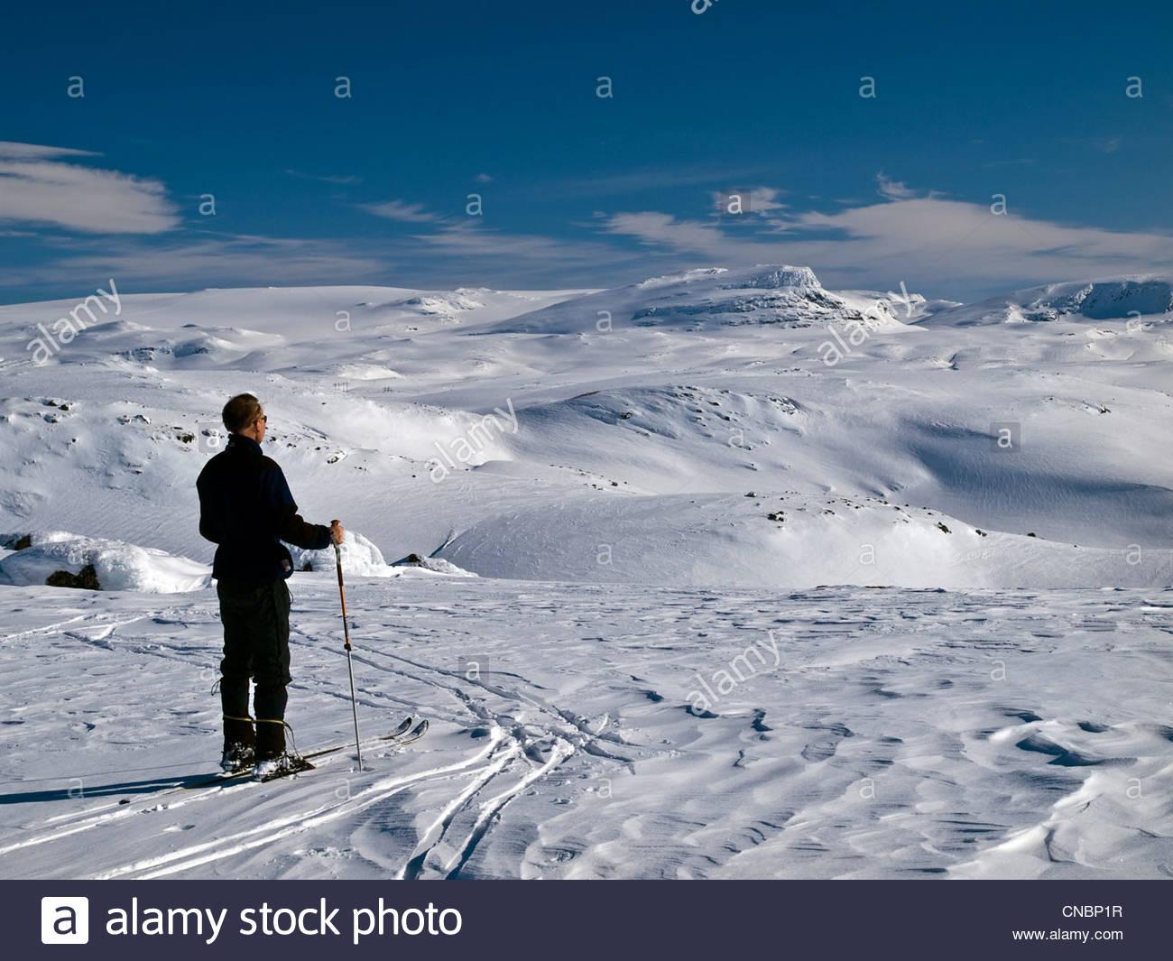 ski touring in Norway's Hardanger region - Stock Image