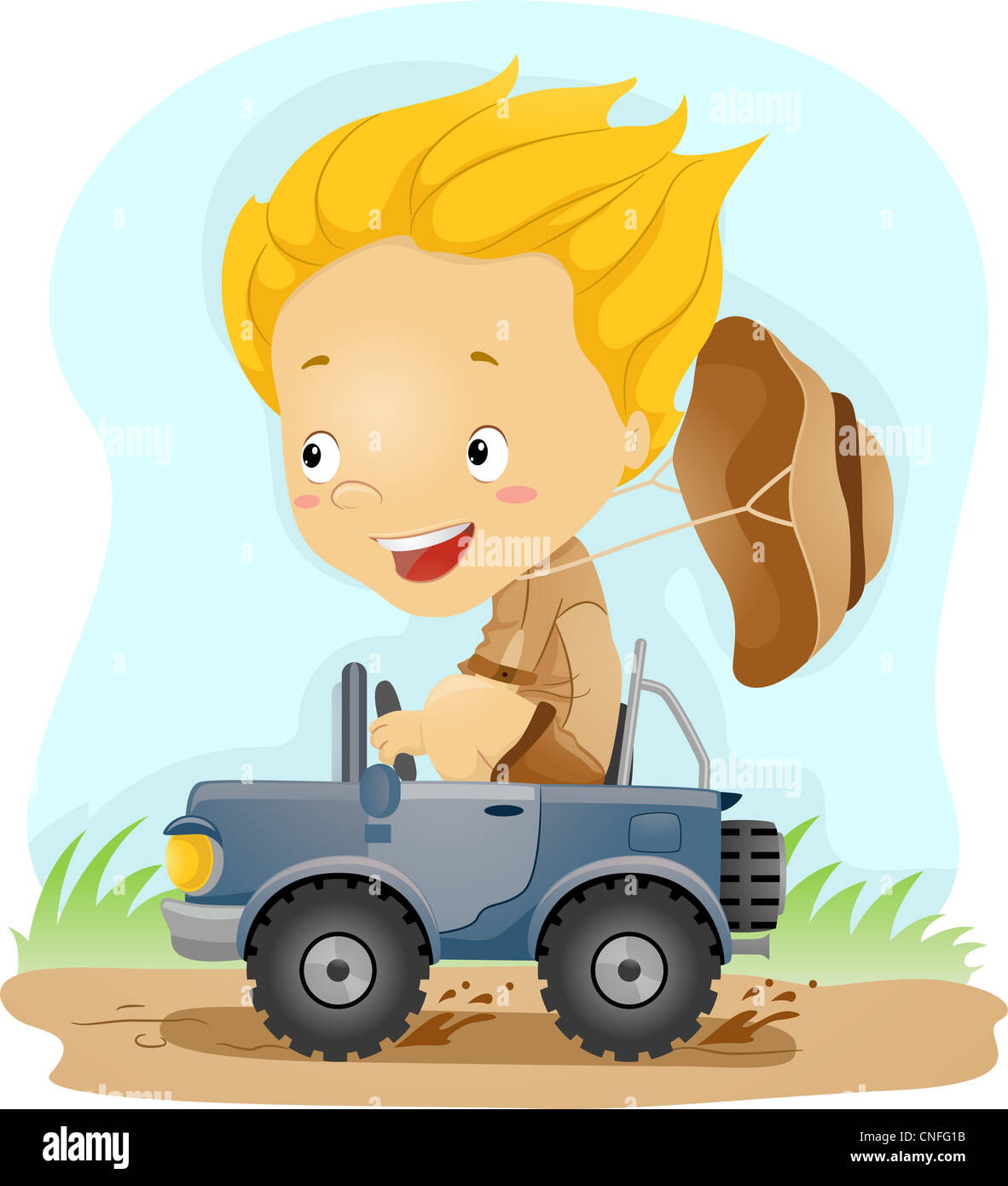 Illustration of a Kid Driving a Small Jeep - Stock Image