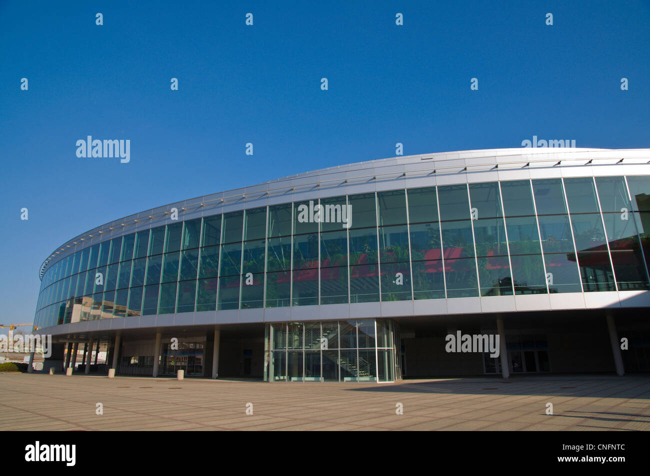 From Sept 2012 KHL ice hockey games will be held in O2 ice hockey indoor arena Vysočany district Prague Czech Republic - Stock Image